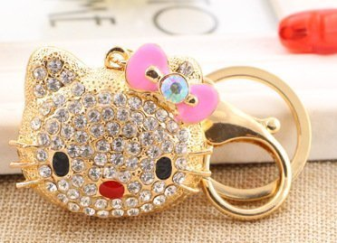 Pink color upscale fashion creative new key fob key ring metal stick drill small bulk keychain super cat head (Drill Keychain compare prices)