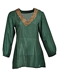 Geroo Women's V-Neck Organic silk Tops (TUH-6A-3, Green, 38)