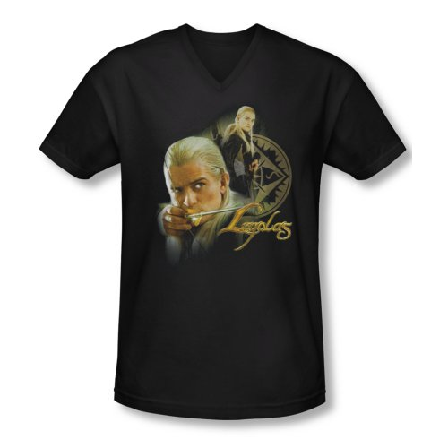 The Lord of The Rings Movie Legolas Stare with Bow Adult V-Neck T-Shirt Tee