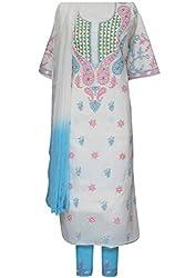 Ada Chikan Handmade Cream Cotton Casual Ethnic Salwar Suit Dress Material A105459