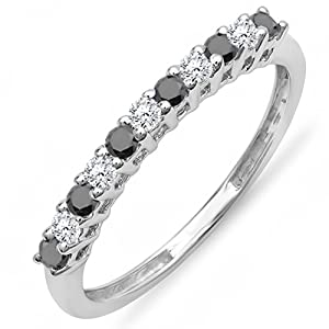 0.33 Carat (ctw) 10K White Gold Round White & Black Diamond Anniversary Stackable Wedding Band 1/3 CT (Size 8)