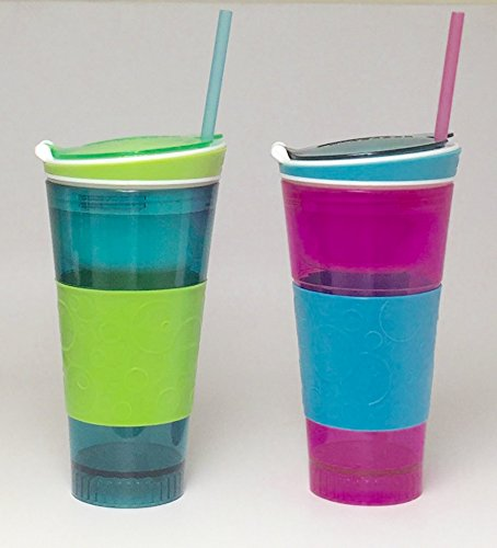 Snackeez Plastic 2 in 1 Snack & Drink Cup 2 Pack Pink and Blue
