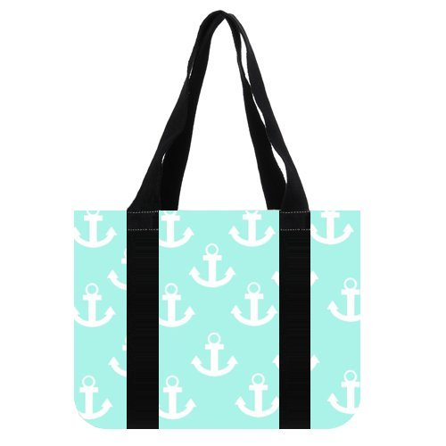 "14.4"" x 10.4"" x 4.3"" Anchor Large Roomy Canvas Tote Purse Beach Travel Bag (two sides)"