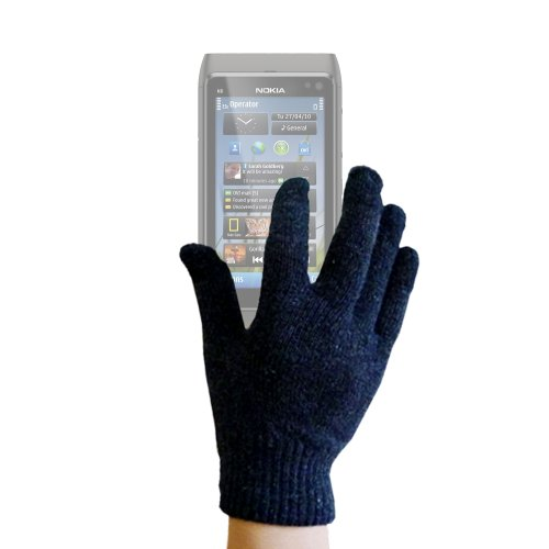 DURAGADGET Unisex Black Touch Screen Gloves 70% Wool (Small) For Nokia 220/Asha 230/X/X+/XL