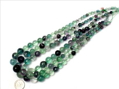 6--14mm Graduated faceted fluorite beads strand 15