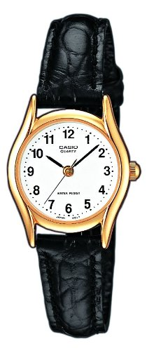 Casio Collection ltp-1154pq-7bef - Ladies Watch - Analogue Quartz - White Dial - Black Leather Strap