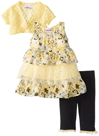 Little Lass Baby-Girls Infant 3Pc Skimp Knit Shrug and Cropped Legging Set, Yellow, 18 Months
