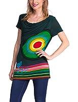 Desigual Xort - T-shirt - Empire - Imprimé - Col châle - Manches courtes - Femme