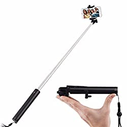NewveZ Portable Self-Portrait Extendable Monopod with built-in Bluetooth Remote Shutter for iPhone 6s, 6, 5s, Android and All Other Smartphones Selfie Stick Selfie Stick