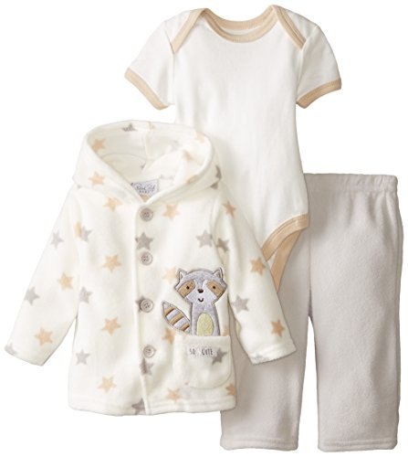 Rene Rofe Baby Unisex-Baby Newborn 3 Piece Micro Fleece Button Front Hooded Best Friends Jacket and Pant Set with Bodysuit, Multi, 3-6 Months