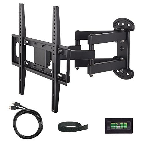 "Mounting Dream MD2379 TV Wall Mount Bracket with Full Motion Dual Articulating Arm (15"" Extension) for most of 26-55 Inches LED, LCD and Plasma TVs up to VESA 400x400mm and 99 lbs, with Tilt, Swivel, and Rotation Adjustment, Including 6 ft HDMI Cable and Magnetic Bubble Level"