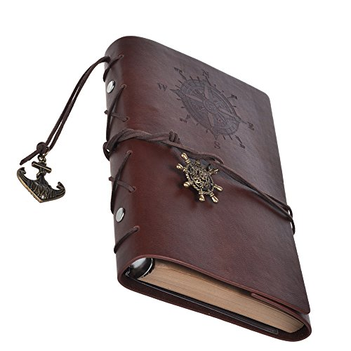 Cosmos® Dark Brown Color Vintage Classic PU Leather Notebook for Diary, Travel journal and Note