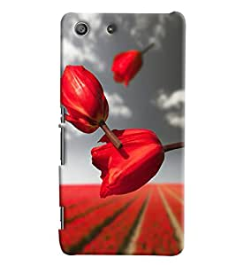 Blue Throat Red Lily Pattern Hard Plastic Printed Back Cover/Case For Sony Xperia M5