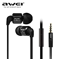 ORCUS Basics AWEI ES-600i Super Bass 3.5MM Stereo Earphone with Microphone for iPhone 6 & 6 Plus, iPhone 5 & 5S & 5C, Samsung Galaxy & Other Phones - Black