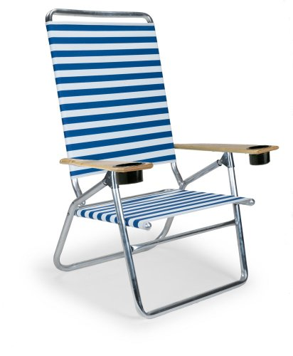 Telescope Casual Light And Easy High Boy Folding Beach Arm Chair With Cup Holders, Blue/White Stripe