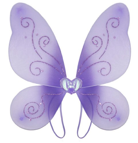 Purple Swirl Glitter Nylon Butterfly Wings Dress Up Fairy Fairies Wing - Toddler Youth Princess Girls Party Birthday Dress-Up Costume Apparel Recital Halloween Costumes front-959897