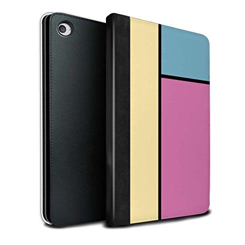 STUFF4 PU Pelle Custodia/Cover/Caso Libro per Apple iPad Mini 4 tablet / 3 Piastrelle/Rosa / Piastrelle Pastello disegno