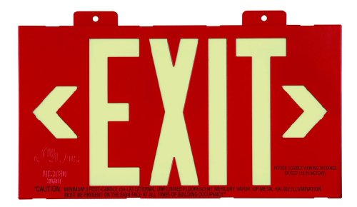 Glo Brite 7011-B 8.25-by-15.25-Inch Single Face Eco Exit Sign with Bracket, Red