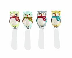 Boston Warehouse Snowy Owls Ceramic Spreader Set