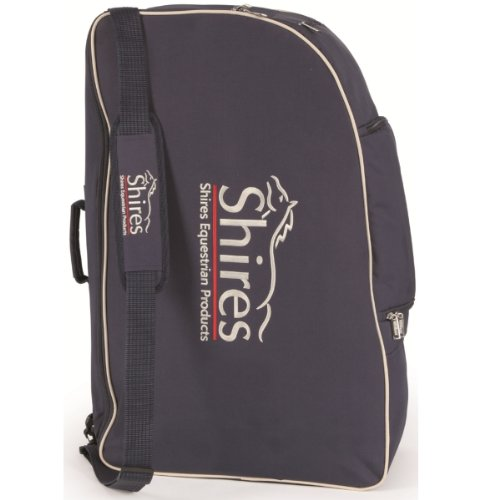 SHIRES NEW STYLE BOOT/HAT/WHIP CARRY BAG/SACK EQUESTRIAN HORSE RIDING NAVY/CREAM