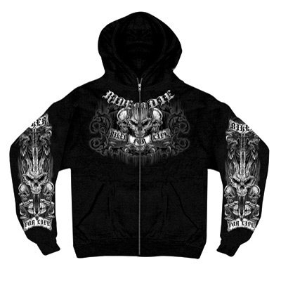 Hot Leathers Ride or Die Zip-Up Hooded Sweatshirt XX-Large Black