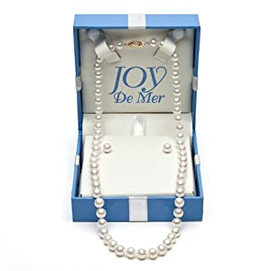 6.5-7.0mm, White Akoya Pearl Necklace and Stud Earring Set with 14k Yellow Gold in Gift Box