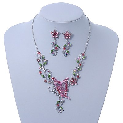 Pink/ Green Swarovski Crystal 'Butterfly' Necklace & Drop Earring Set In Rhodium Plating - 40cm Length/ 6cm Extension