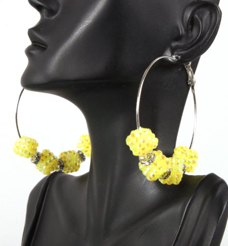 Basketball Wives Yellow 2.5 Inch Hoop Earrings with Four Shamballah Square Shaped Balls and Rondelle Spacers Lady Gaga Paparazzi Mob Wives