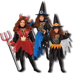 Pretend Devil-Wizard-Witch Child Costume Dress-Up Sets (3-in-1) Size 12-14