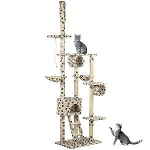 Happypet® CAT005-2 Arbre à chat Griffoir Grattoir 230-260cm Beige + motif pâtes de chat