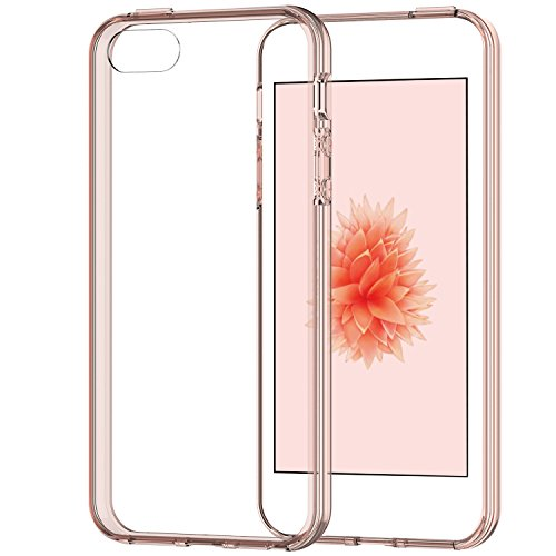 iPhone SE Case, JETech Apple iPhone SE/5S/5 Case Bumper Cover Shock-Absorption Bumper and Anti-Scratch Clear Back for iPhone 5 5S SE (Rose Gold) - 0427 (Iphone 5 Bumper With Clear Back compare prices)