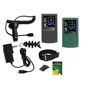 iShoppingdeals - Smoke/Green Silicone Skin + Car Charger + Wall Charger + Screen Protector + Armband + Beltclip + Fishbone Keychain for Sony NWZ E344 E345 Walkman