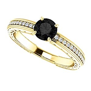 14K Yellow Gold Round Cut Black and White Diamond Engagement Ring