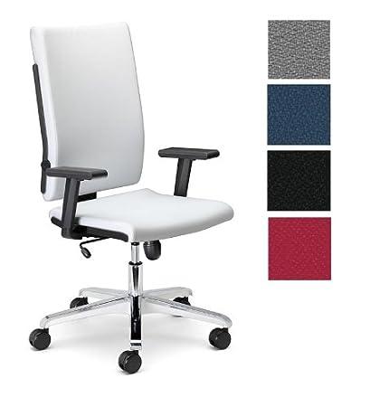 Dreams4Home Drehstuhl 'Luke' Weiß Grau Schwarz Blau Rot, Burostuhl Buro Schreibtischstuhl, Farbe:grau