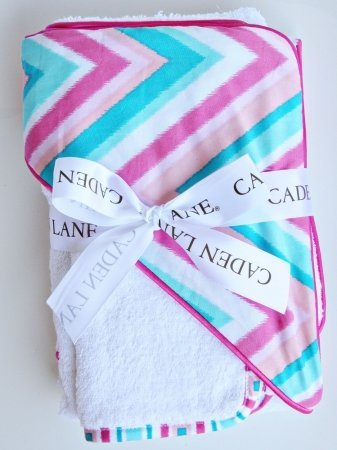 Caden Lane Ikat Collection Chevron Hooded Towel Set, Pink, Infant