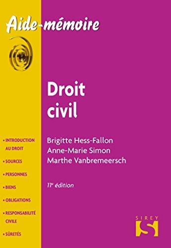 Droit civil - 11e éd.: Aide-mémoire Sirey