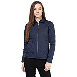 Quilted Women'S Jacket In Blue Color With Front Zipper