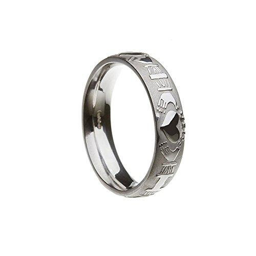 Boru Mens Domed Claddagh Irish Wedding Band Sterling Silver Irish Made Clad