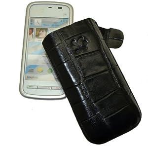 Original Suncase Echt Ledertasche (Lasche mit Rückzugfunktion) für Nokia 5230 in croco-schwarz