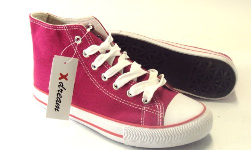 Classic Retro Unisex Fuchsia Baseball Hi Top Boots Free Postage