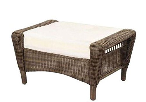 Spring Haven Grey All-Weather Wicker Patio Ottoman with Bare