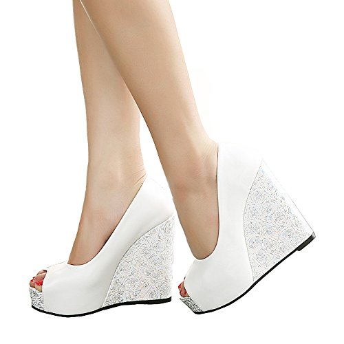 Getmorebeauty Women's White Rose Knittng Party Wedding Open Toes High heel 6 B(M) US