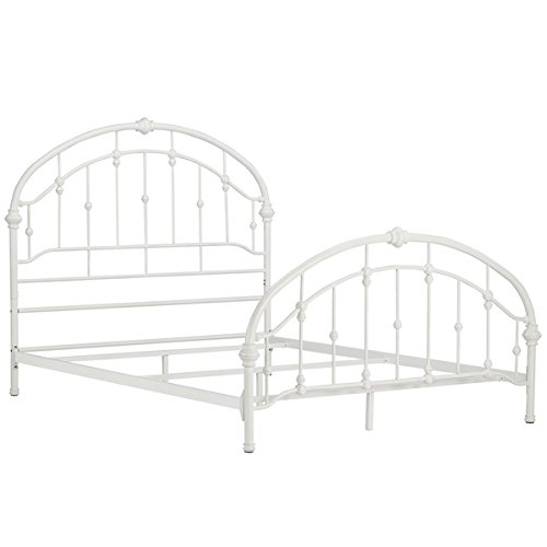White Antique Vintage Metal Bed Frame in Rustic Wrought Cast Iron Curved Round Headboard and Footboard Victorian Old Fashioned Bedroom Furniture Kit Mattress Bedding Not Included (Queen) 3