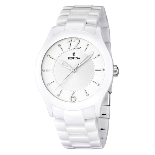 Festina Unisex Quartz Watch with White Dial Analogue Display and White Ceramic Bracelet F16638/1