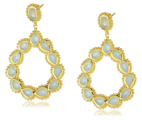 Elyssa Bass Designs 18kt Vermeil Sea Green Chalcedony Open Pear Post Earrings