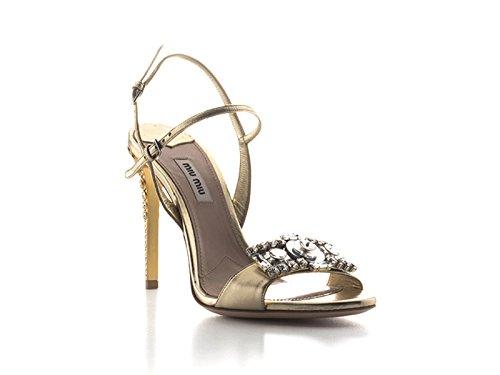 Sandali tacco alto Miu Miu in pelle nappa Platino - Codice modello: 5X9724 XWU F0846 - Taglia: 39 IT