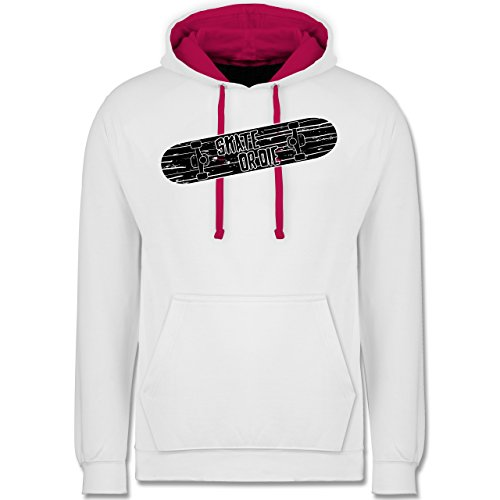 sonstige-sportarten-skate-or-die-l-weiss-fuchsia-jh003-unisex-damen-herren-kontrast-hoodie