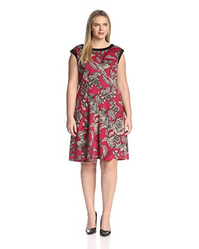 London Times Plus Women's Sleeveless Printed Fit and Flare