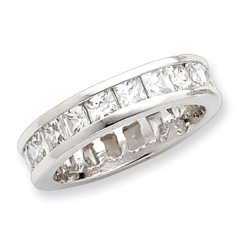Sterling Silver CZ Eternity Band - Size 8