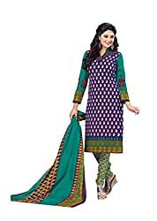 Aarti Apparels Women's Cotton Unstitched Dress Material_BeautyQueen-8_Green and Blue